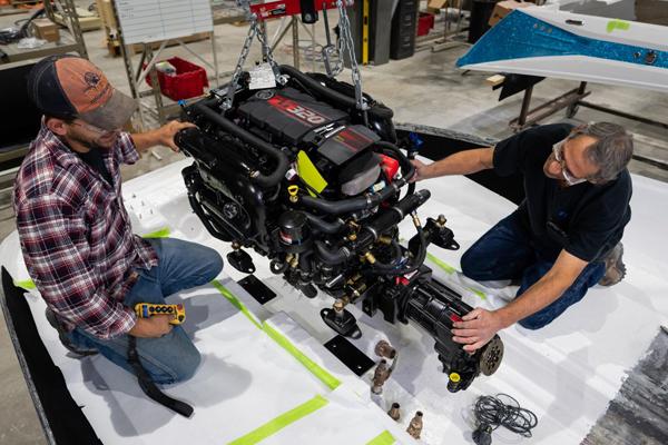 Varatti boat engine on hoist